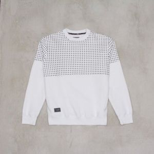 Backyard Cartel sweatshirt Half Dots crewneck white