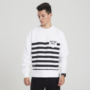 Backyard Cartel sweatshirt Half Stripes Pocket crewneck white