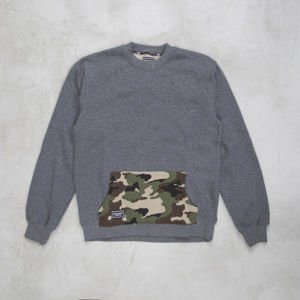 Backyard Cartel sweatshirt Woodland Back crewneck heather grey