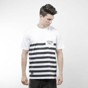 Backyard Cartel t-shirt Half Stripes Pocket white