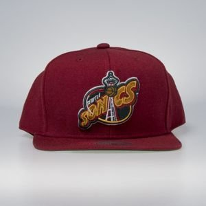 Cap Mitchell & Ness snapback Seattle Supersonics red Wool Solid / Solid 2