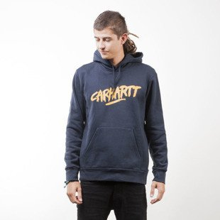 Carhartt WIP Hooded Painted Script Sweat navy / quince
