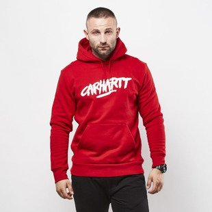 Carhartt WIP Hooded Painted Script Sweat rosehip / white