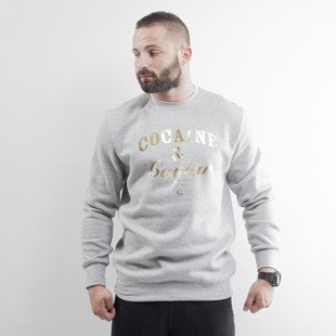 Crooks & Castles crewneck Cocaine & Caviar Foil heather grey / gold