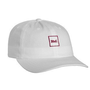 HUF strapback Domestic Box Logo Curved Brim white / red