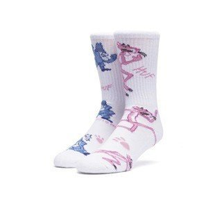 Huf x Pink Panther socks The Pink Hunt white