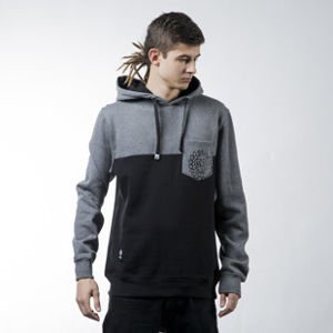 Mass Denim  sweatshirt Pocket Base hoody black / dark heather grey