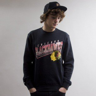 Mitchell & Ness sweatshirt Chicago Blackhawks crewneck  black Diagonal Sweep