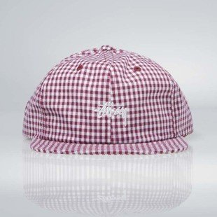 Stussy Gingham Stock Strapback Cap red