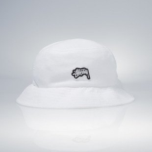 Stussy bucket hat Stock Logo Pique white