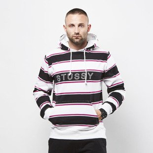 Stussy sweatshirt Heavy Jersey Striped Hoodie white