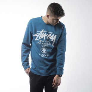Stussy sweatshirt World Tour Crew ocean blue