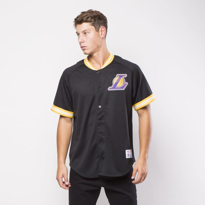 Mitchell Ness jersey Los Angeles Lakers black Seasoned Pro Mesh Button Front  . bd277721a