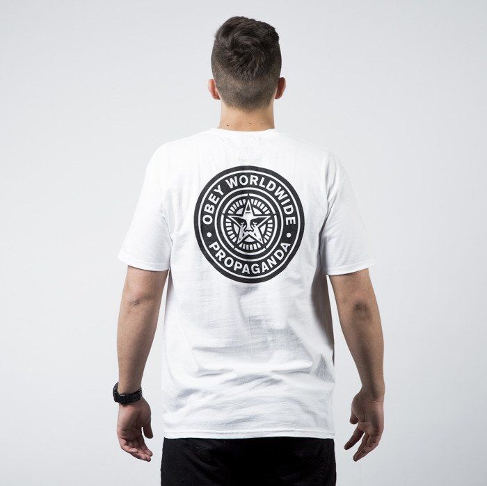 Obey T Shirt With Stamp Back Print White
