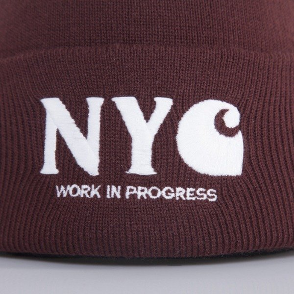 Carhartt WIP cap NYC bordeaux / white