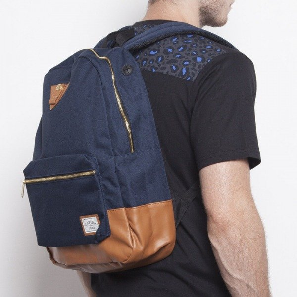 Cayler & Sons backpack Kush Uptown navy / cognac / green leaves CAY-AW14-BP-01-06-OS