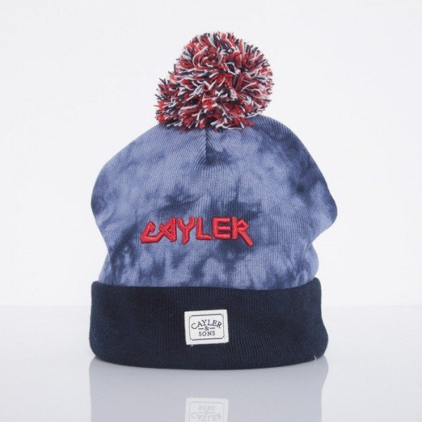 Cayler & Sons beanie New Money Pomp Pom acid washed navy / red / white CAY-AW14-BN-26-01