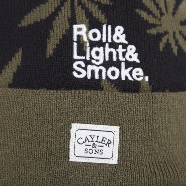 Cayler & Sons beanie RollLight Smoke Pom Pom black / green / white  CAY-AW14-BN-28-02