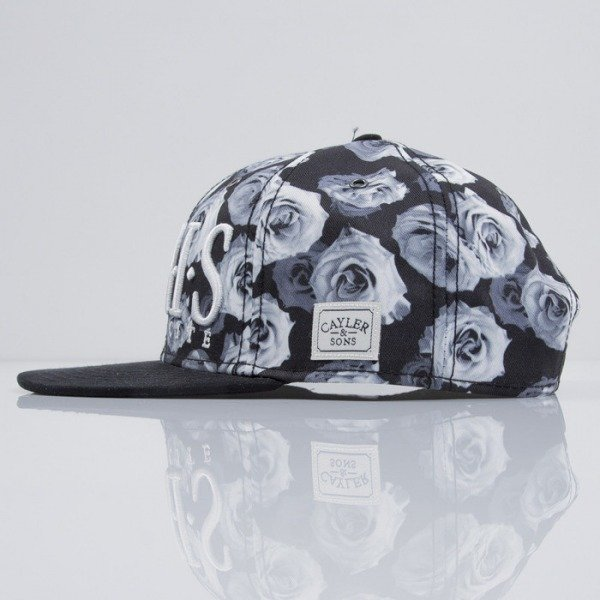 Cayler & Sons cap snapback Parigi white roses / black suede (CAY-SS15-40-01)