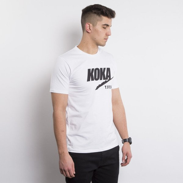 KOKA T-shirt TAKE FROM THE RICH FAKE white