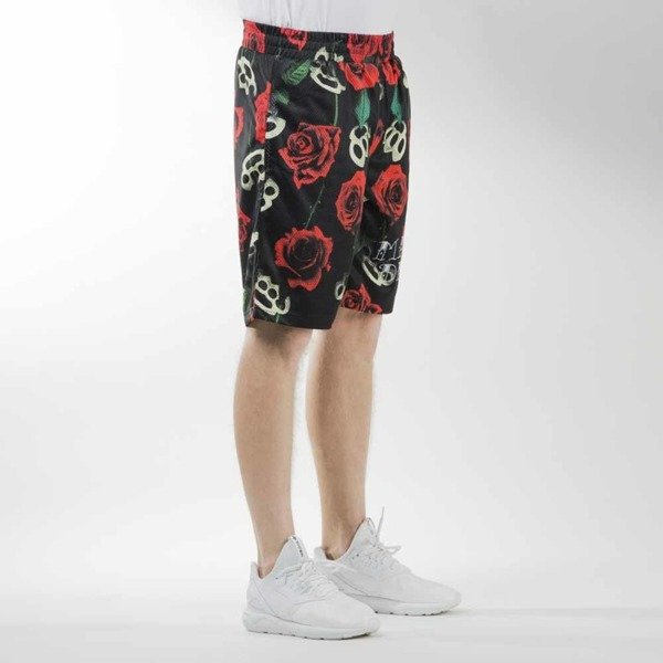 Mass Denim sportshorts Brass' N' Roses mesh black