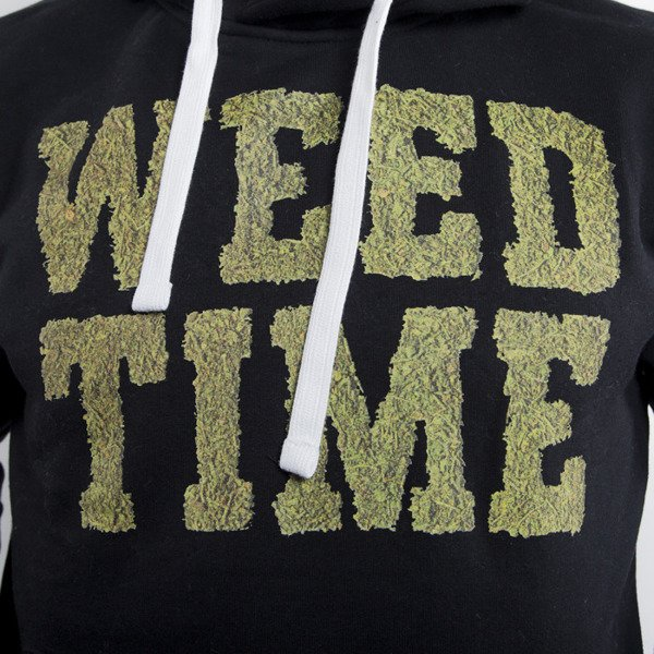 Mass Denim sweatshirt hoody Weed Time black