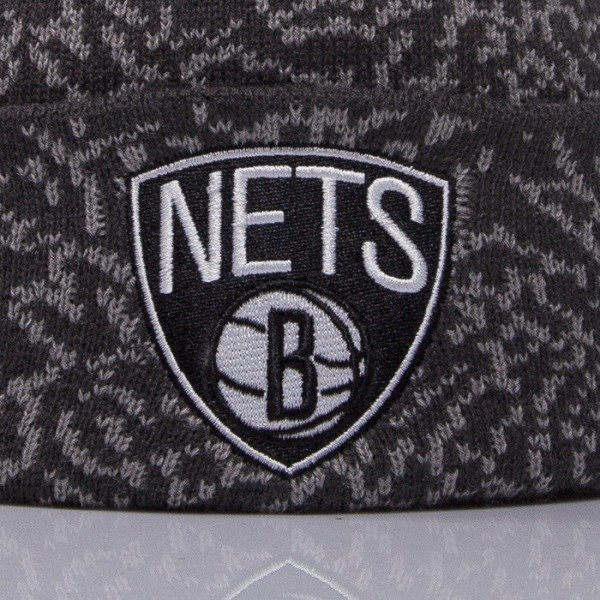 Mitchell & Ness beanie Brooklyn Nets grey Cracked Pattern KL79Z
