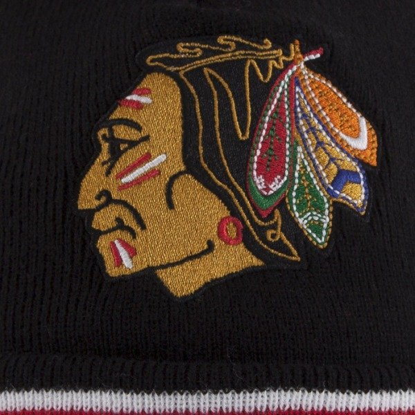 Mitchell & Ness beanie Chicago Blackhawks black Black Out Team with bobble KN48Z