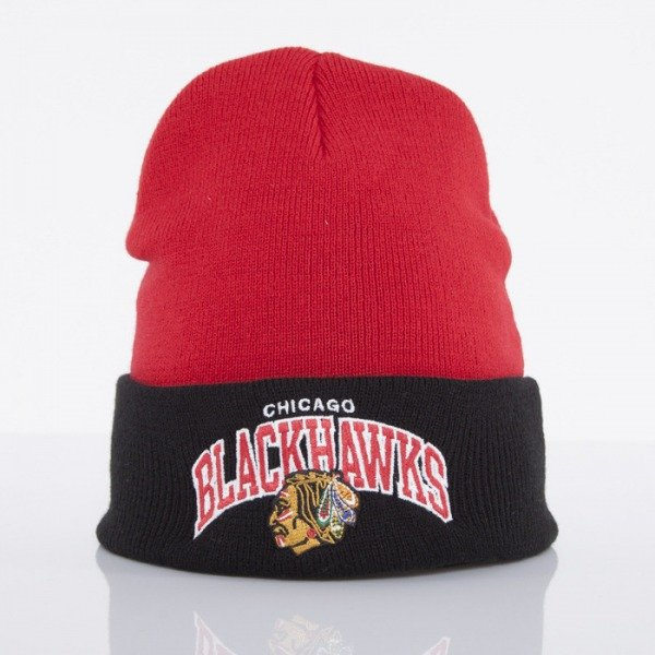 Mitchell & Ness beanie Chicago Blackhawks red Arched Cuff Knit EU349