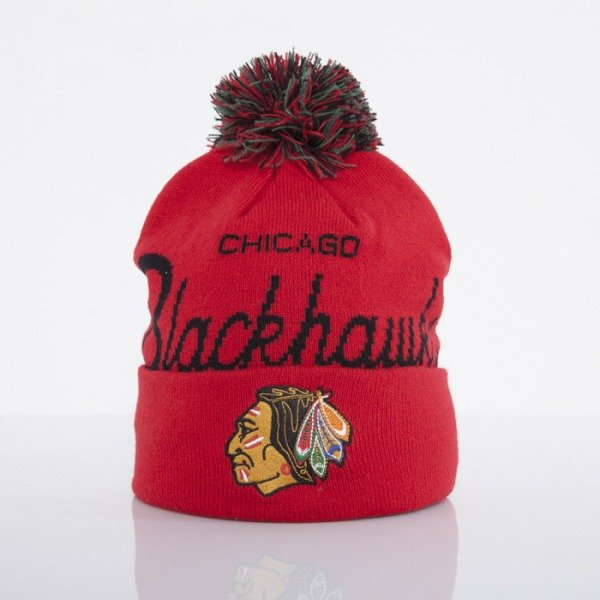 Mitchell & Ness beanie Chicago Blackhawks red Special Script Knit Bobble