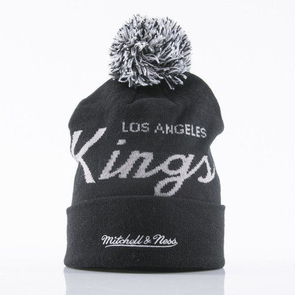 Mitchell & Ness beanie Los Angeles Kings black Special Script Knit Bobble KL88Z