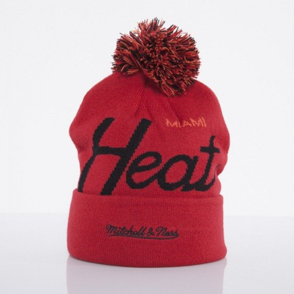 Mitchell & Ness beanie Miami Heat red Special Script Knit Bobble