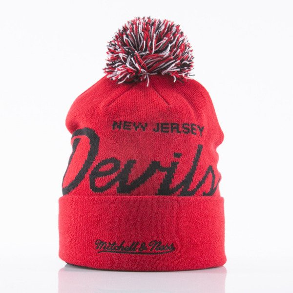 Mitchell & Ness beanie New Jersey Devils red Special Script Knit Bobble KL88Z