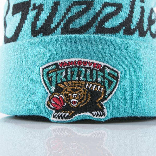 Mitchell & Ness beanie Vancouver Grizzlies teal Special Script Knit Bobble KL82Z