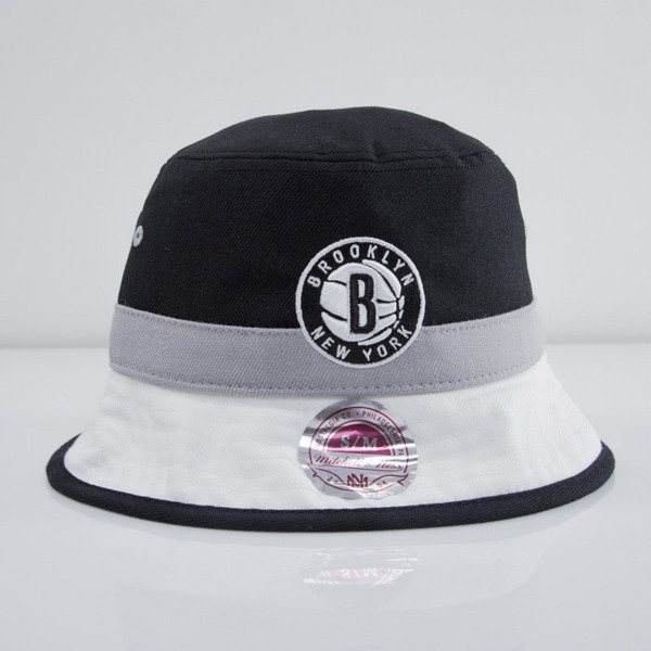 Mitchell & Ness bucket hat Brooklyn Nets black/grey Colour Block U128Z