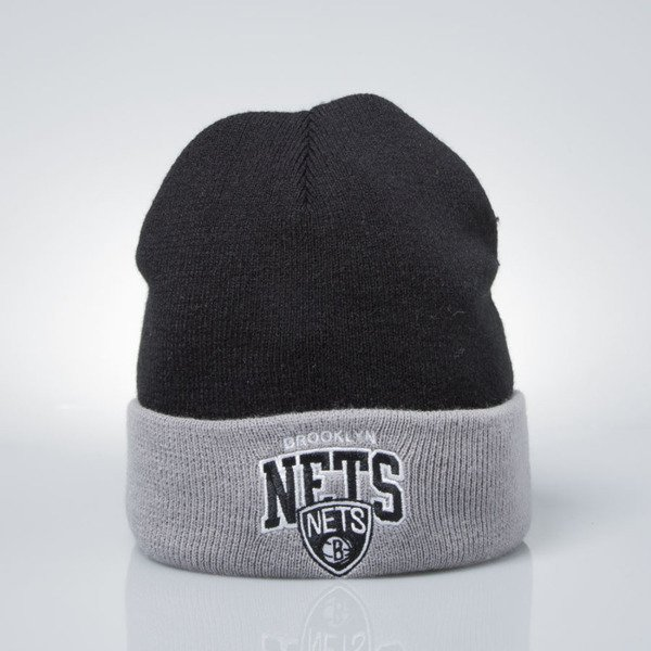 Mitchell & Ness czapka zimowa winter baenie Brooklyn Nets black / grey EU349 ARCHED CUFF KNIT