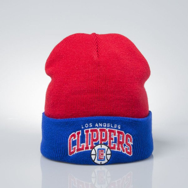 Mitchell & Ness czapka zimowa winter baenie Los Angeles Clippers red / blue EU349 ARCHED CUFF KNIT
