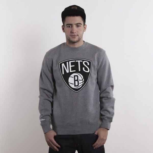 Mitchell & Ness sweatshirt Brooklyn Nets heather grey crewneck Team Logo