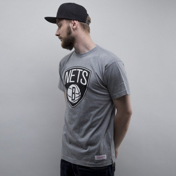 Mitchell & Ness t-shirt Brooklyn Nets heather grey Black and White Logo