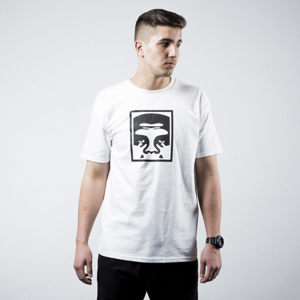 Obey T-shirt Half Face Icon white