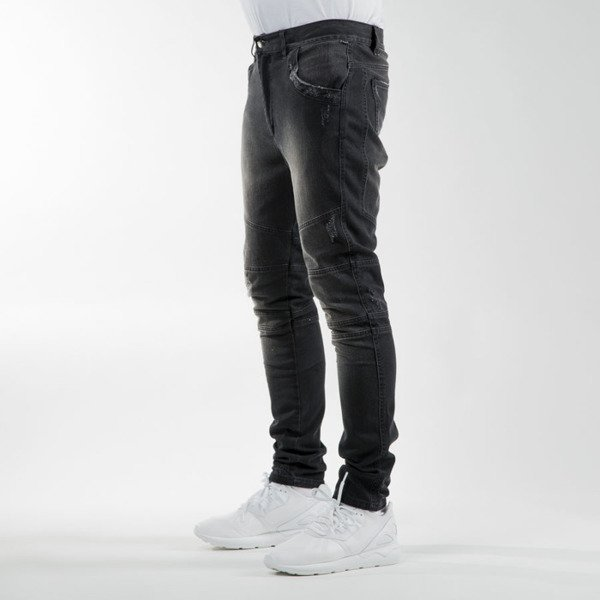 Phenotype Black Frayed Biker Denim black washed