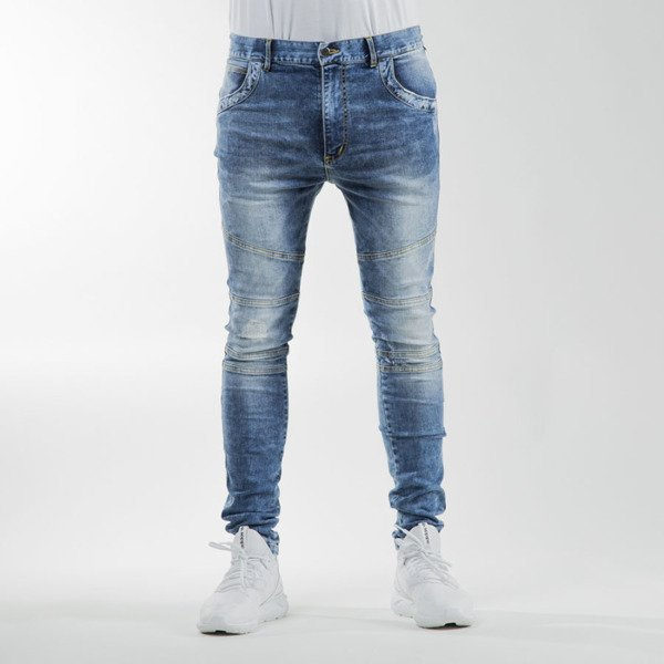 Phenotype Blue Frayed Biker Denim blue
