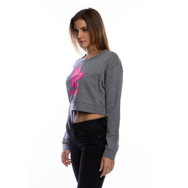 Stussy Stay Paid Cropped Crew grey heather