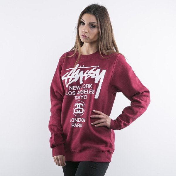 Stussy World Tour Crew dark red WMNS