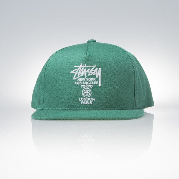 Stussy snapback cap World Tour green
