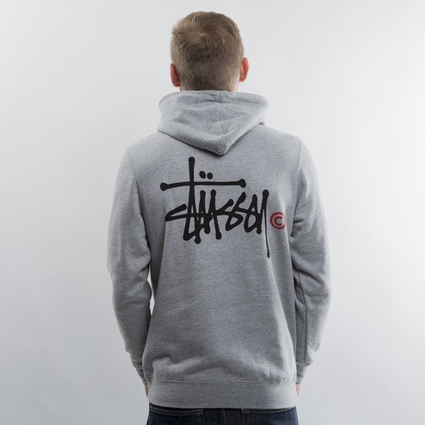Stussy sweatshirt Basic Logo Hood grey heather