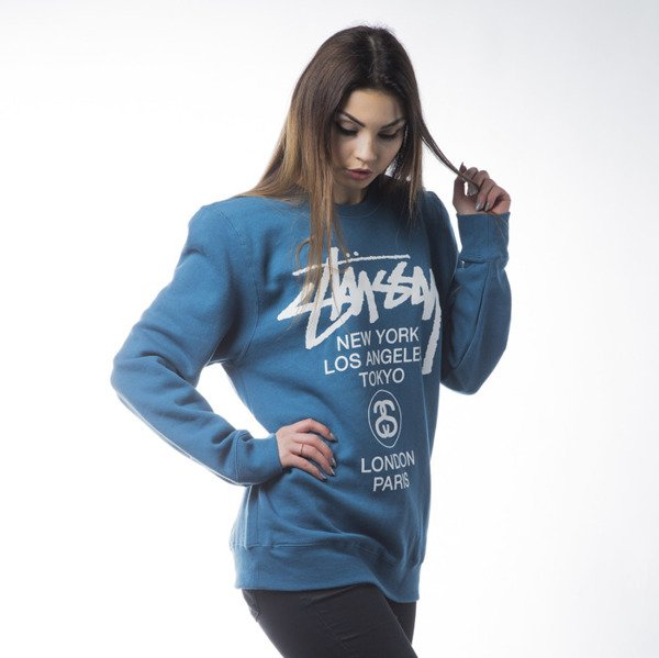 Stussy sweatshirt World Tour Crew ocean blue WMNS