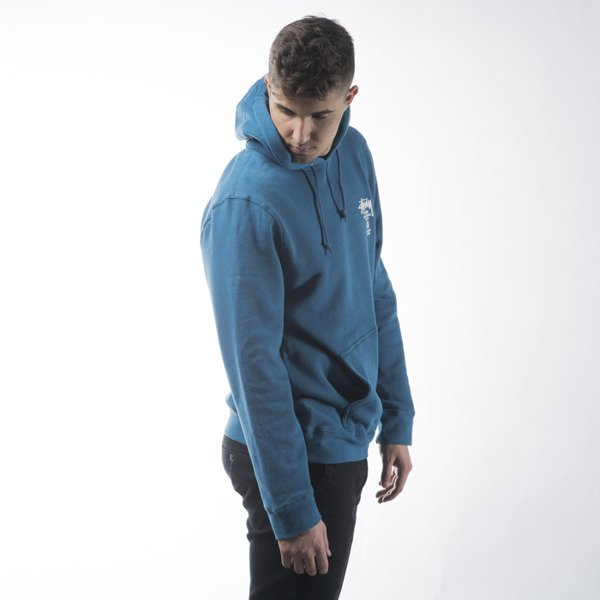 Stussy sweatshirt World Tour Hood ocean blue