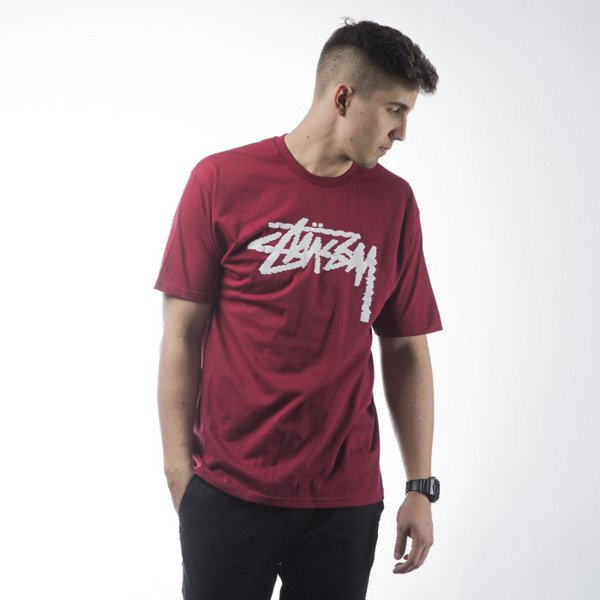 Stussy t-shirt Label Stock dark red