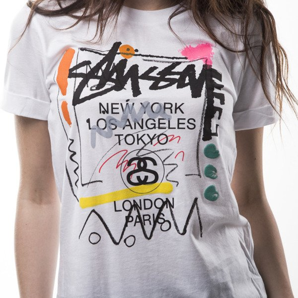 Stussy t-shirt WT Doodle Cuffed white WMNS